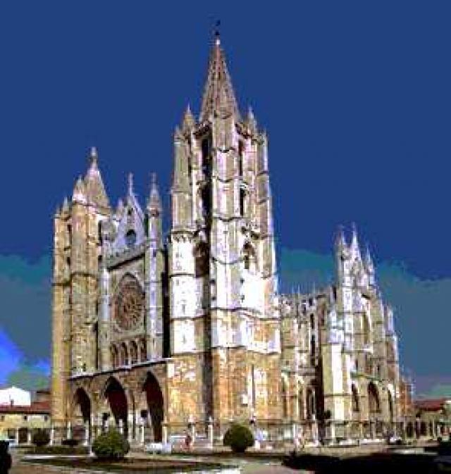 Catedral Santa María en Burgos (España) La catedral Santa María es la obra de la arquitectura de Burgos. Construida durante el siglo XIII, la encarga el rey Fernando III de Borgoña en el año 1221, sustituye la iglesia de estilo románico preexistente. Su diseño inicial es de lineas góticas, pues fue construida siguiendo los patrones de las catedrales francesas de Reims y Chartres.