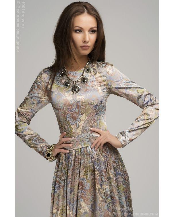 Изображение Платье DM00036BP бежевое с принтом длины макси