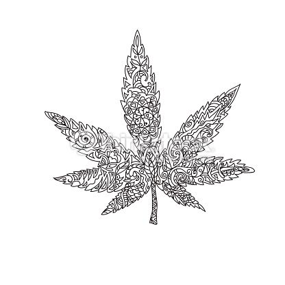 Clipart vectoriel : Cannabis leaf zentangle