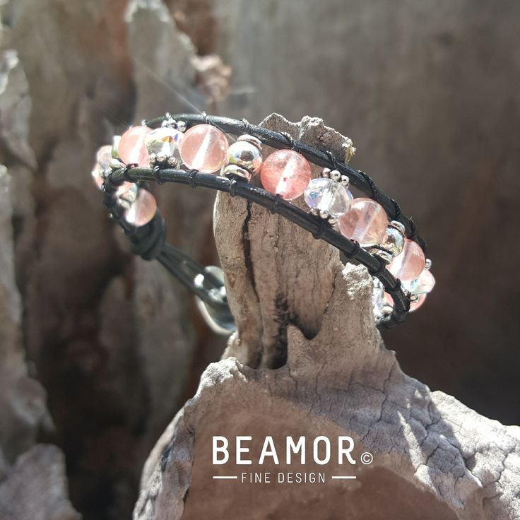 Cherry quartz is a beautiful semi-transparent glass with swirls of pink floating throughout. Cherry quartz is said to have uplifting and calming qualities due to the colours and formations.  #cherryquartz #leatherwrap #bohojewellery #bohostyle