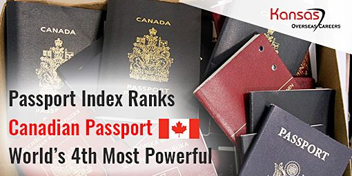 In the latest version of Passport Index, Canada stands on the 4th position for having a most powerful passport.