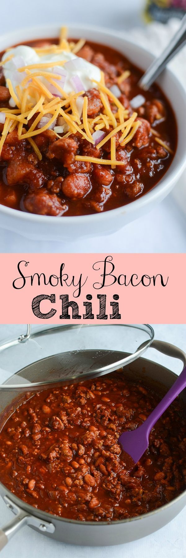 Smoky Bacon Chili - bacon makes everything better! This hearty and delicious recipe is going to become your winter favorite!