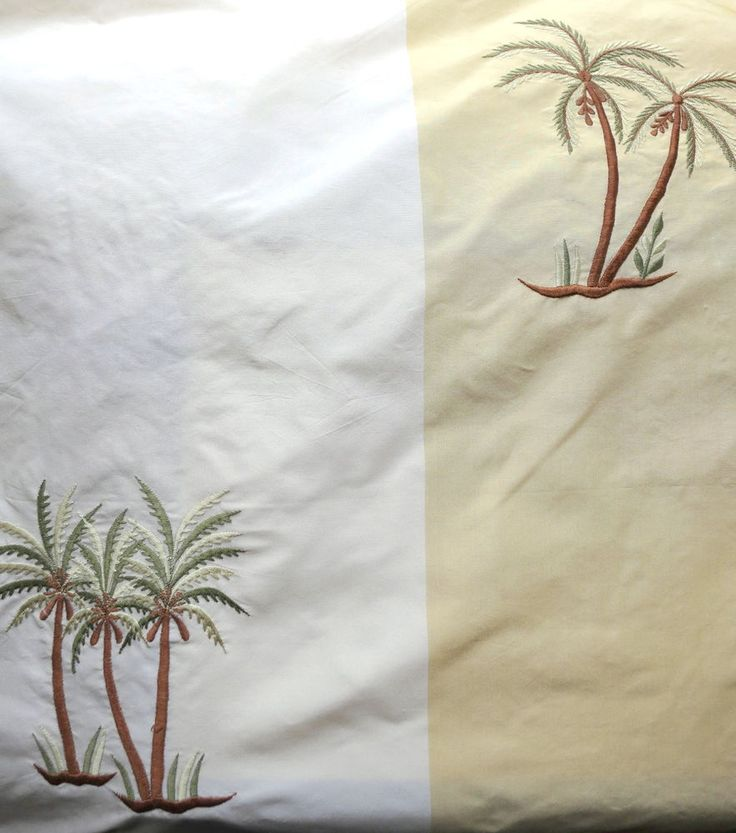 CREAM GOLD BEIGE GREEN PALM TREE SILK STRIPE UPHOLSTERY FABRIC