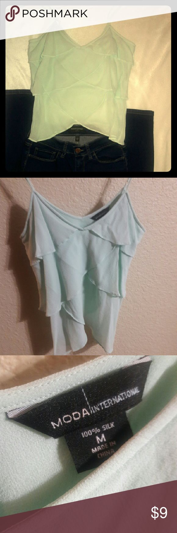 Moda International cami 100% Silk Medium Light blu-ish green Tops Camisoles