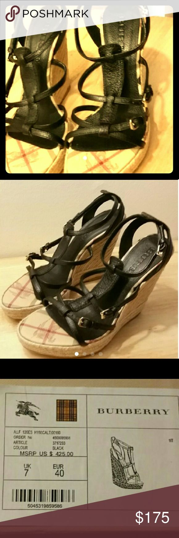 Burberry Black Leather Wedges Size 40 Burberry Shoes Wedges