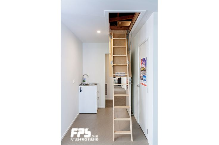 FAKRO Wooden Attic Stairs from HomeTech (www.hometech.co.nz) Inconspicuous at the ceiling level, Fakro Attic Stairs from HomeTech integrate flush into your ceiling space. With an insulated hatch to minimize heat gain and heat loss, these simple fold-up attic stairs are robust and thoughtfully designed.