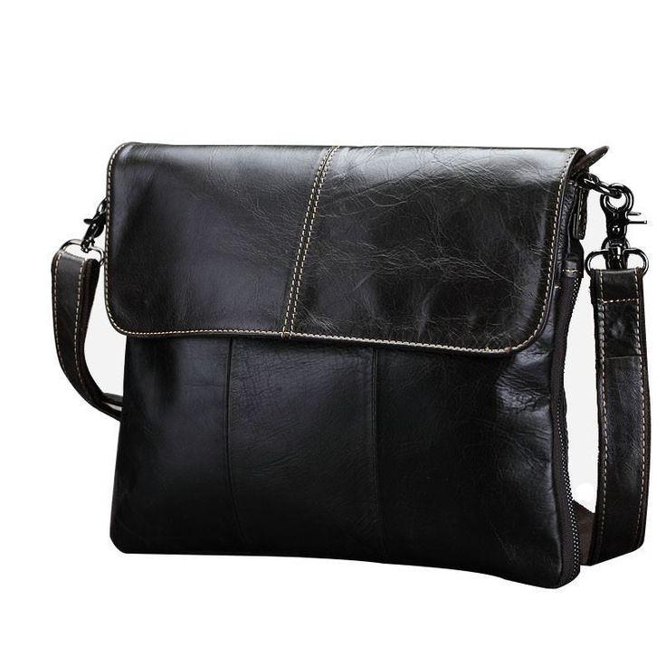 Men Vintage Messenger Bag Cross-body Bag Natural Cow-skin Shoulder Bag Tote Bag