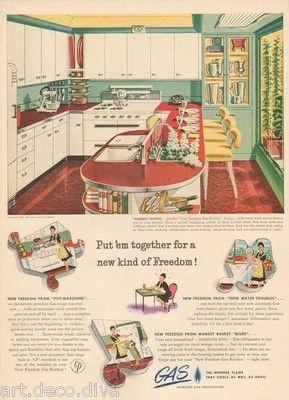 1940s vintage GAS Kitchen Appliance RED Jadeite Green COUNTER Cabinet RETRO AD   eBay