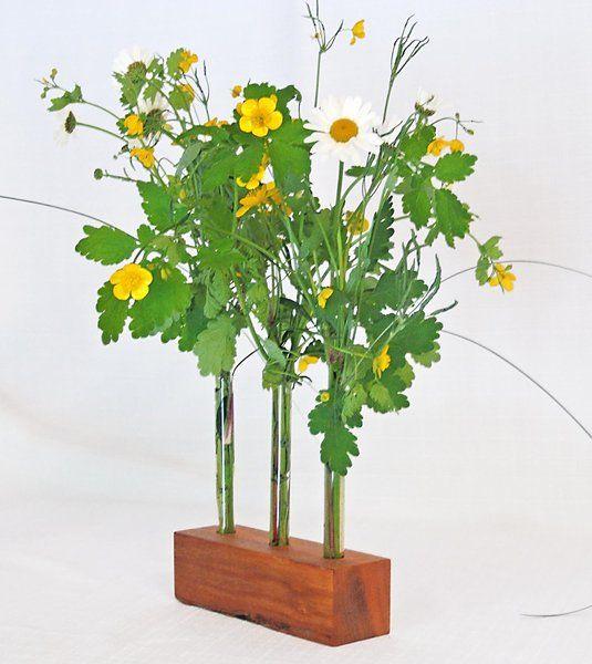 blumenvase aus holz mit 3 glaseinstzen - Kopfteil Plant Holzbearbeitung