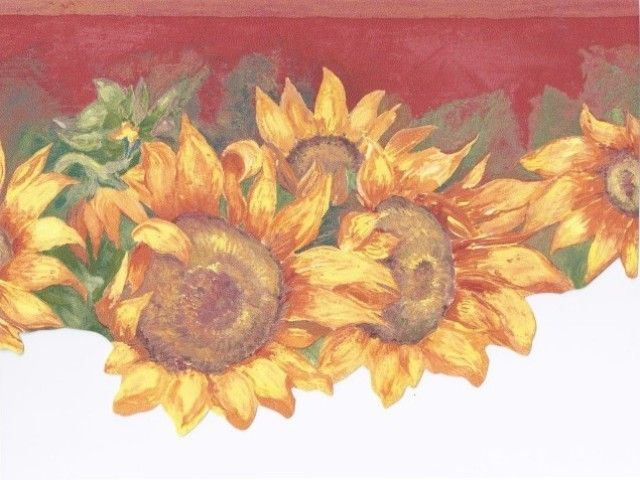 Interior Place   Red Yellow Sunflowers Wallpaper Border, $16.99  (http://www.interiorplace.com/red Yellow Sunflowers Wallpaper Border/)    Pinterest ...
