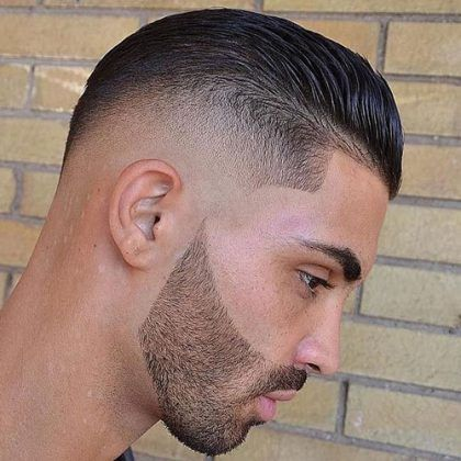 High Skin Fade with Slicked Back Hairstyle