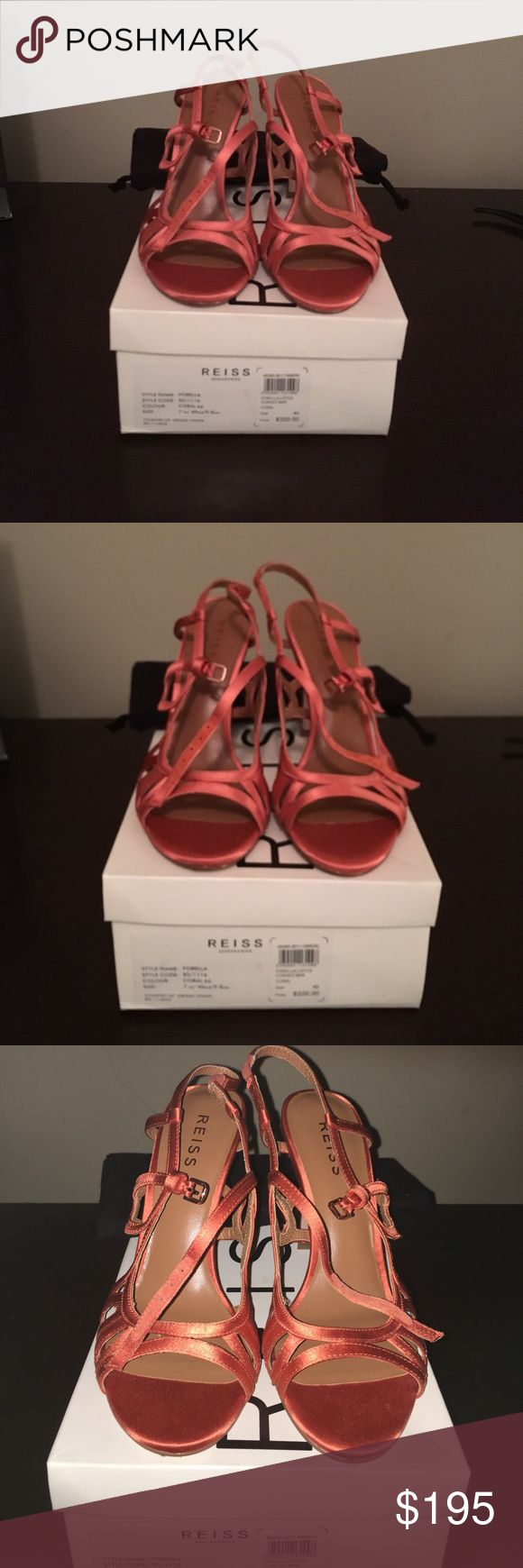 Reiss Sandals ( never worn ) Brand new Coral Satin Sandals. Size 40. US-9.5. Leather soles. Reiss Shoes Sandals