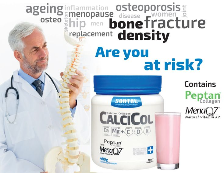 CalciCol - A Combination of Calcium + Collagen  CalciCol: -Increases Bone strength -Increases Bone density  -Builds bone tissue  -Improves joint flexibility -Improves joint comfort  CalciCol is available from your nearest agent or health shop. www.sontal.co.za