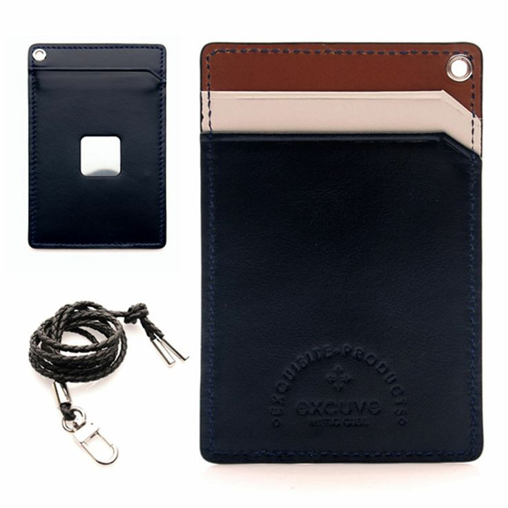 excuve MTX1 Leather Lanyard Necklace ID Credit Card Holder Wallet Pocket Navy