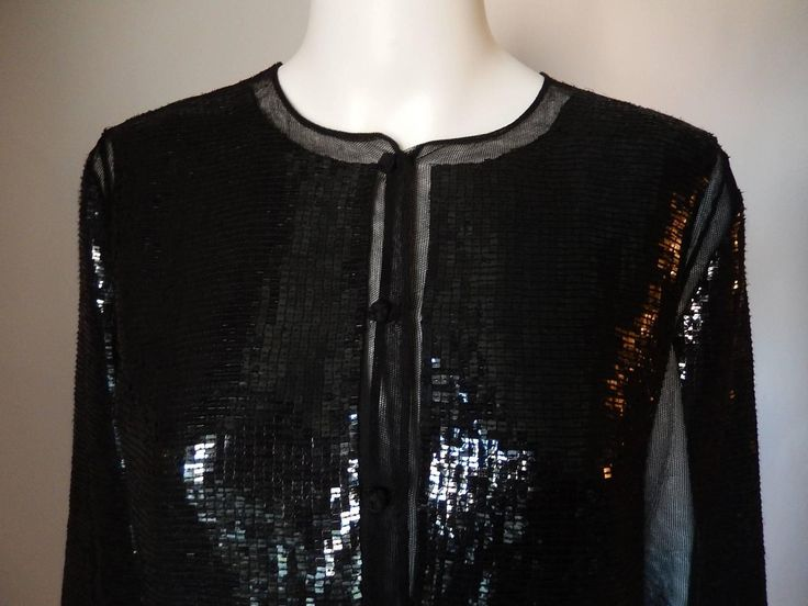 Chado Ralph Rucci Brand New Black Sequin Cardigan Jacket  Hand Sewn 100% Silk | From a collection of rare vintage jackets at https://www.1stdibs.com/fashion/clothing/jackets/