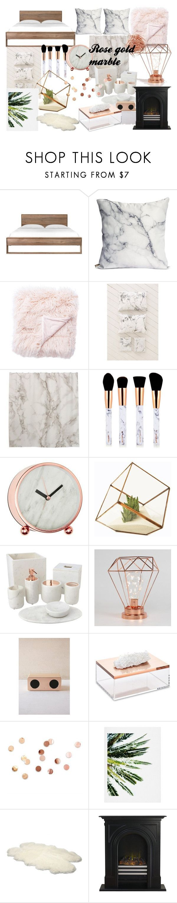 """rose gold marble room decor"" by alilaforce on Polyvore featuring interior, interiors, interior design, home, home decor, interior decorating, Jaipur, Urban Outfitters, Home Decorators Collection and Mapleton Drive"