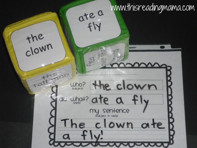 roll a silly sentence example....I like this idea but to add a picture to each side with the words.  After the student writes the sentence have them use the details (what they see, colors, etc) to stretch the sentence add make it a sparkling or salsa sentence. (Details, adj or word choice)