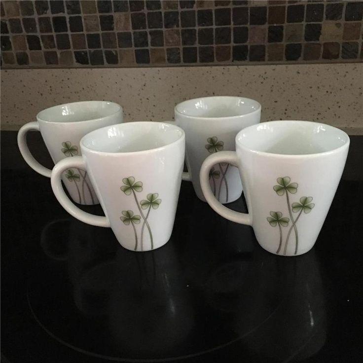 Set of 4 Marcus Notley Ireland 2006 White Porcelain Mugs Shamrock Green Clover #MarcusNotley