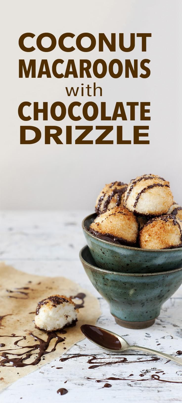 Coconut Macaroons with Chocolate Drizzle -- These bite-sized balls of goodness will please your sweet tooth and your waistline. Each cookie is only 65 calories! // desserts // healthy recipes // National Cookie Day // Hanukkah // low calorie // high protein // beachbody // beachbody blog