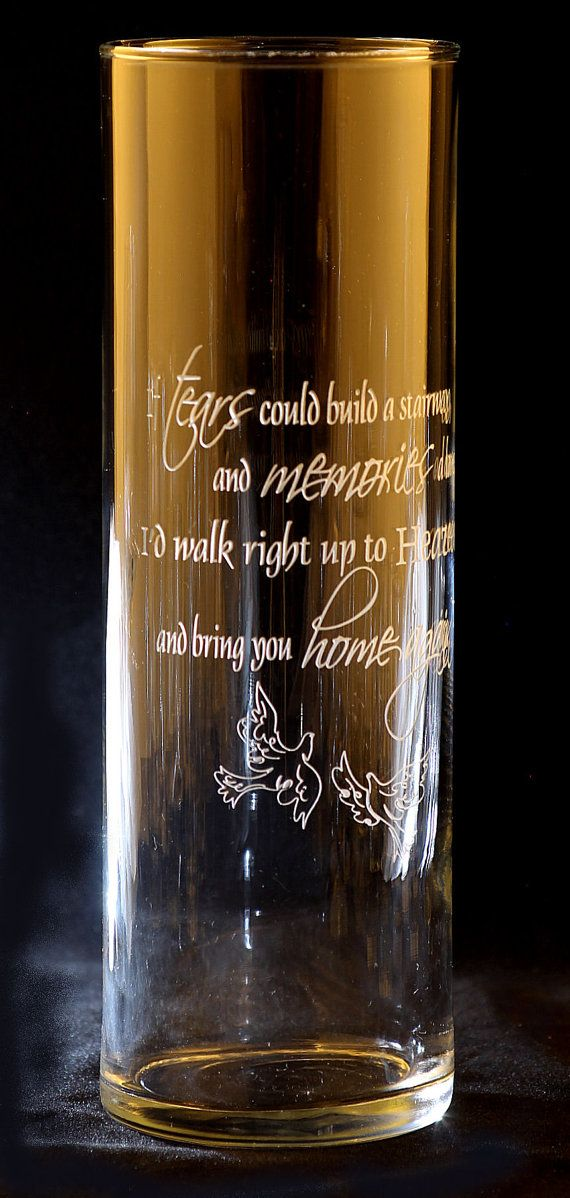Memorial Engraved Floating Candle Vase by GlassMage on Etsy