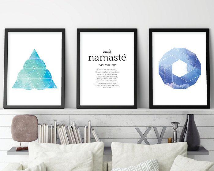 Set of 3 Prints, Namaste, Zen Print Set, Yoga print set, Sacred Geometry print set, Zen Art, Boho art, Yoga Art, Downloadable Prints, Art by UrbanEpiphanyPrints on Etsy