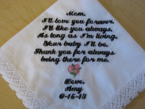 Embroidered Wedding Handkerchief Mother Of The Bride Gift