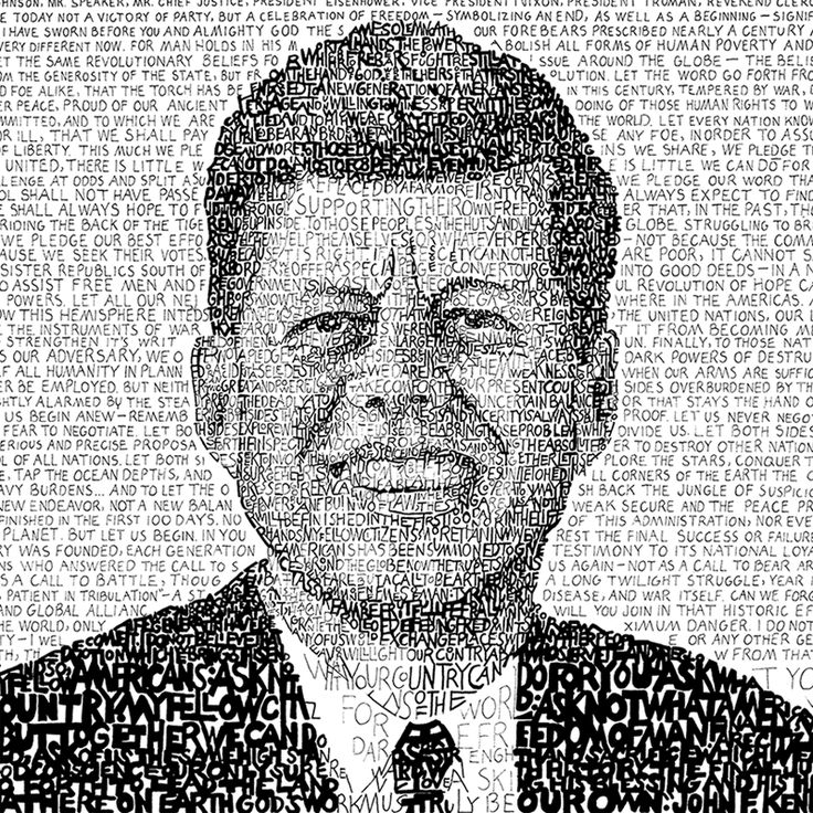This handwritten John F Kennedy - Inaugural Address word art print is the perfect gift for a history buff! Looks great as a poster, framed print, decor or wall art.