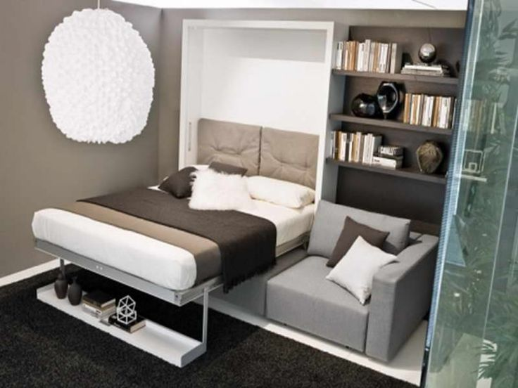 Bedroom, : Impressive Murphy Bed With Sofa With Grey Cotton Headboard Also Grey Leather Sofa