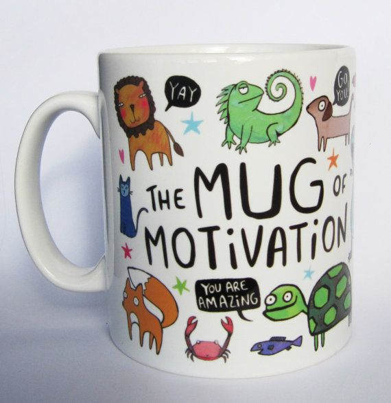 20 Adorable Mugs with Print. Superbcook.com A ceramic mug adorned with illustrations of positivity, strange characters and general optimism.