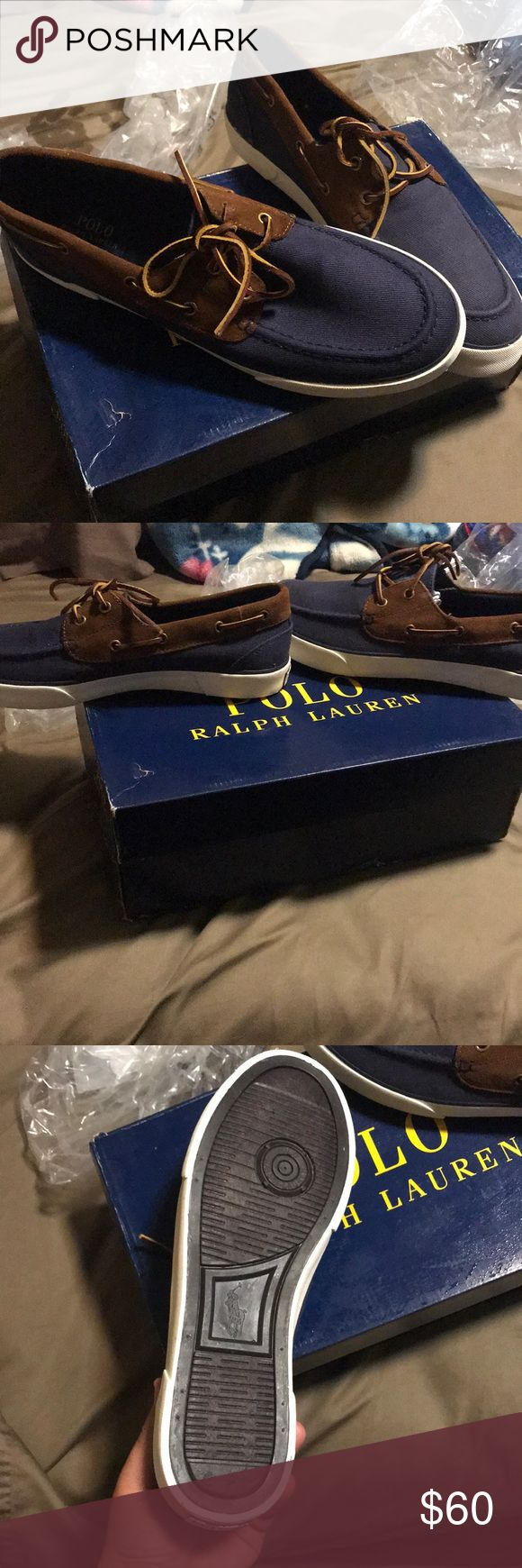 Polo Ralph Lauren boat shoes Navy blue polo Ralph Lauren shoes , brand new Never warn, received as gift but they were a size to big, will make a great Christmas gift since they are brand new open to any offers Polo by Ralph Lauren Shoes Boat Shoes
