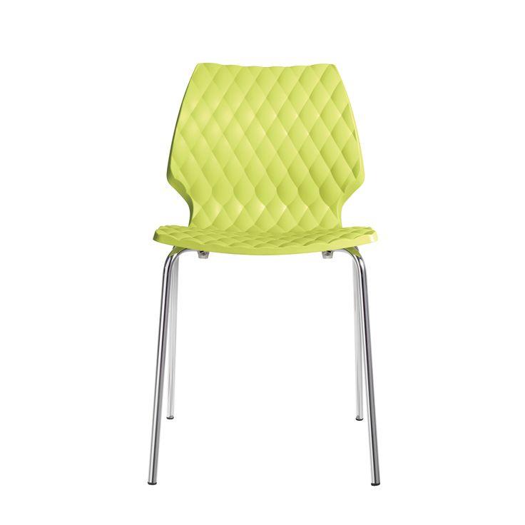Articolo: 550VERDEBOSSKrzesło Uni na czterech nogach, którego struktura wykonana jest z zaokrąglonych rur stalowych. Siedzisko wykonane jest w całości z polipropylenu w kolorze zielonym. Krzesło to jest połączeniem atrakcyjnych kształtów i wygody użytkowania. Skuteczna struktura i efekt pikowany, z błyszczącym wykończeniem tylnej części, wzbogaca zawartość krzesła UNI, nadając mu doskonały i zrównoważony wygląd.