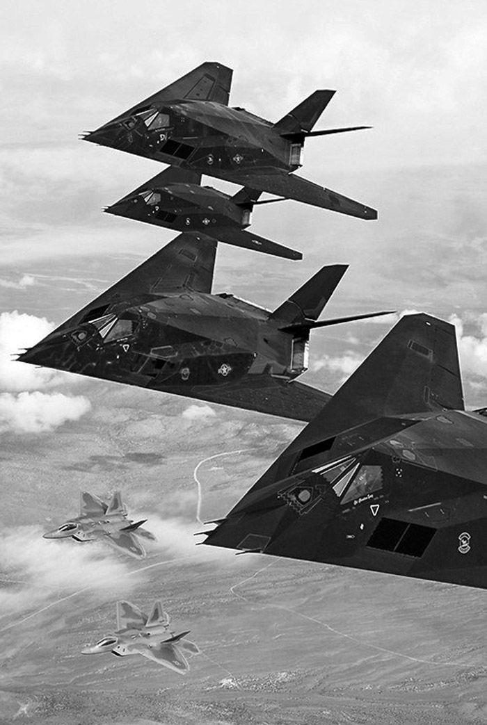 Military Aircraft - F117 Night Hawk and F22 Raptors U.S. Air Force