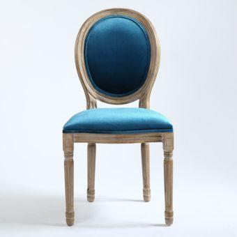 Lot de 2 chaises Louis Xvi Velours Bleu Lot par 2