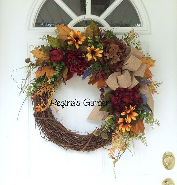 Summer Fall Wreath-Autumn Door Wreath-Farmhouse Wreath