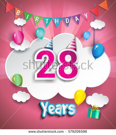 28th Anniversary Celebration Design, with clouds and balloons. using Paper Art Design Style, Vector template elements for your, twenty eight years birthday celebration party.