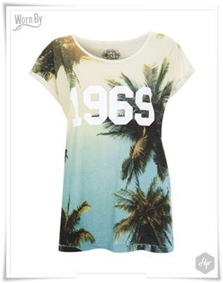 """1969 Palm Trees"" Women's Boyfriend Tee - Ecru  #Hip #HipYourTeez #Tshirts #Look_book #Spring #Summer #Collection #S_S14 #New_In #New_Arrivals #NewCollection #WornBY #RocknRoll"