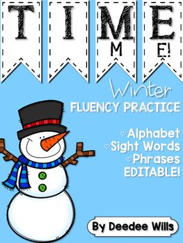 """Dolch Words Pre-Primer, Dolch Words Primer, Dolch Words First are included! Phrases and Alphabet cards are also included so you can meet the needs of all of your students. Winter friends are featured in the research based literacy station. Add this to your word work or literacy station. This file is EDITABLE so you can add your own words! """"I Can"""" cards add to student independence!"""