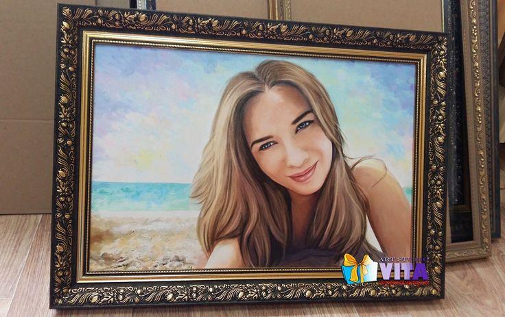 Красота в багете   Цифровой портрет формата А2(40*60)