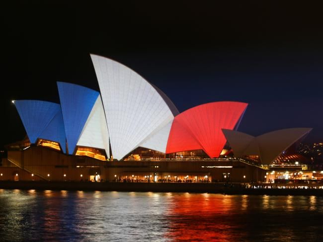 Sydney Opera House lights up in colours of the French flag to pay tribute to victims of the Paris terror attacks | DailyTelegraph #opheliaryan