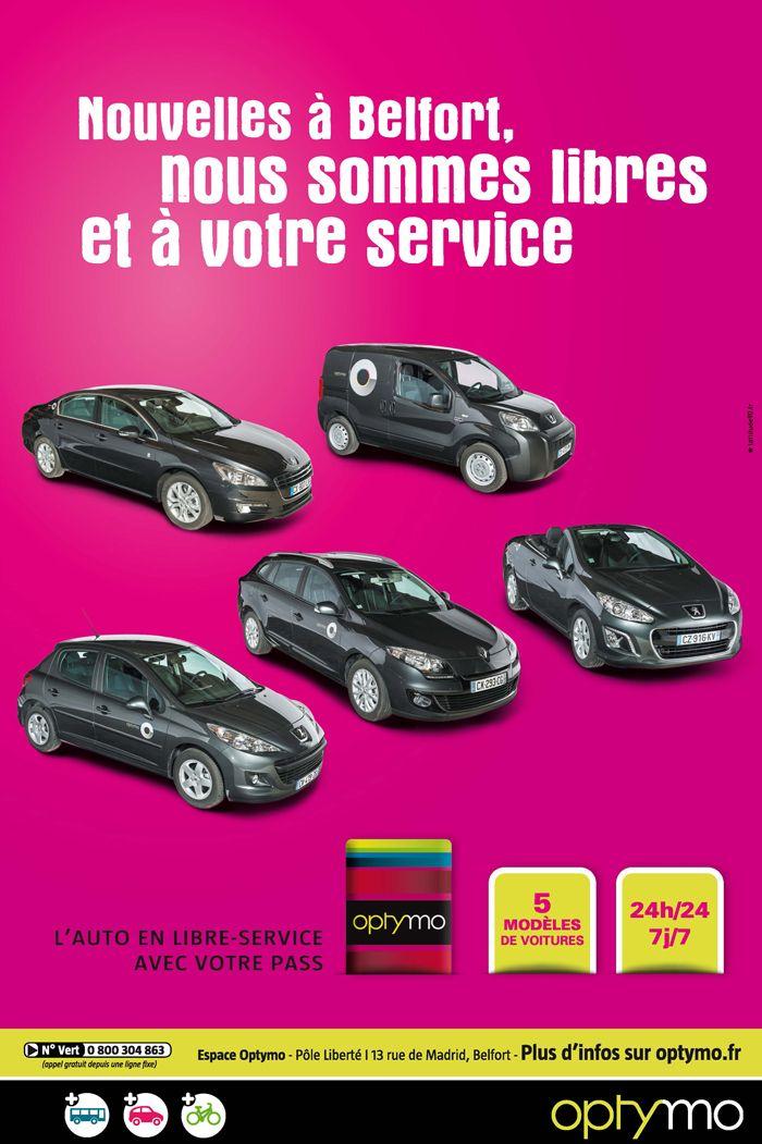 Auto Libre-Service - Optymo  L'Auto Libre-Service Optymo s'installe à Belfort. Campagne de communication, signée L'attitude 90.