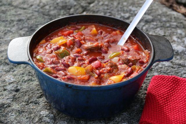 Chili con carne med sjokolade og tortillachips