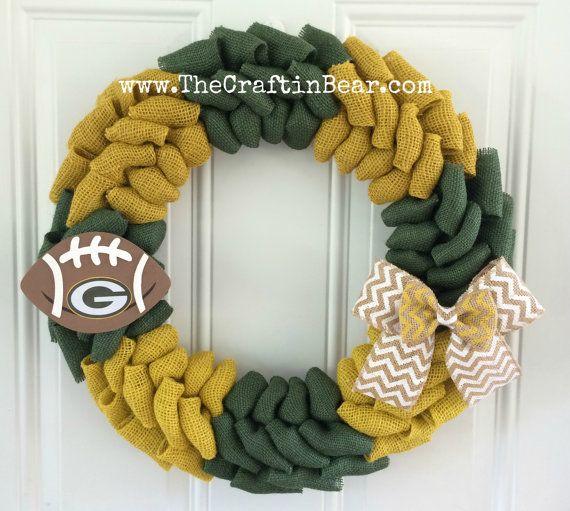 Green Bay Packers burlap wreath w/ chevron bow & wooden football - Green Bay Packers wreath - Packers - Green Bay Packers - Packers wreath
