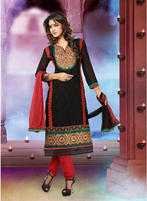 Mysterious Black with red resham work #pakistani_suit