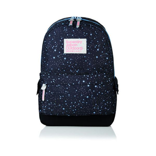 Superdry Moonlight Montana Rucksack (€44) ❤ liked on Polyvore featuring bags, backpacks, blue, padded bag, strap backpack, padded backpack, strap bag and logo backpacks