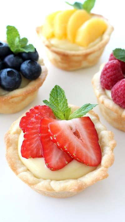 A twist on regular fruit tarts — the crust is actually a cookie!