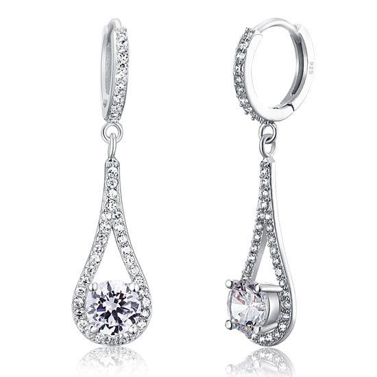 1 Carat Round Cut CZ Cubic Zirconia Sterling Silver Dangle Drop Earrings by CubicZirconiaRings, $34.95