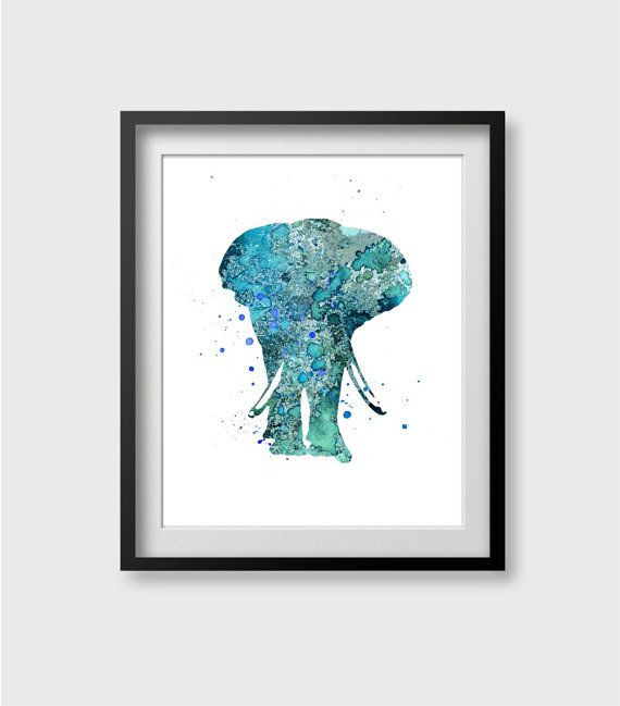 Elephant Watercolor Art Print Elephant Print Home Wall by QPrints