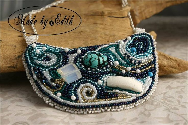 Bead embroidery necklace. https://www.facebook.com/MadeByEdith/photos/a.309718719162682.1073741828.141082949359594/532808390187046/?type=3&theater