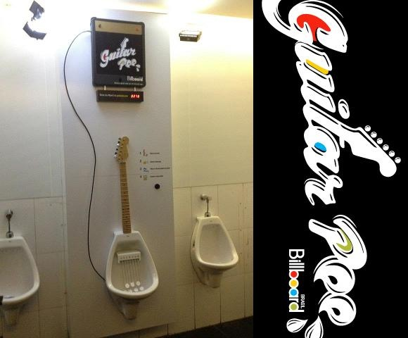 Guitar pee is a project made to reward the people who pee in the right spot!
