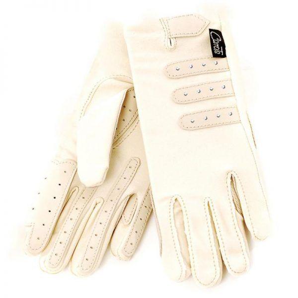 Diamante Competition Cream Ladies Horse Riding Gloves